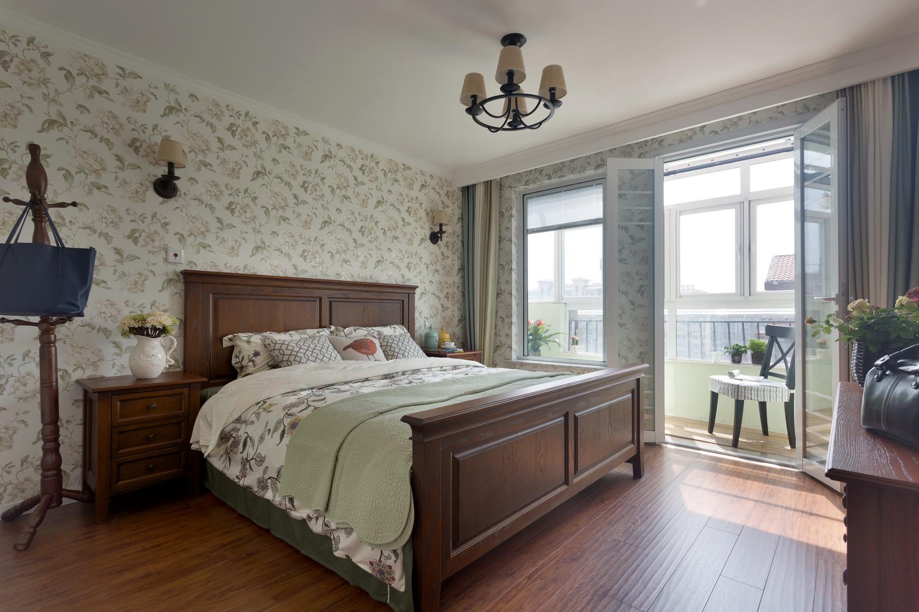 现代美式复式装修卧室效果图