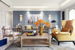 美式轻奢风格三居沙发背景墙装修效果图