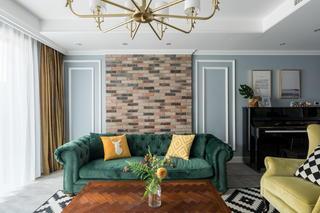 170平美式风格沙发背景墙装修效果图