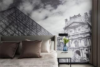 现代三居卧室背景墙装修效果图