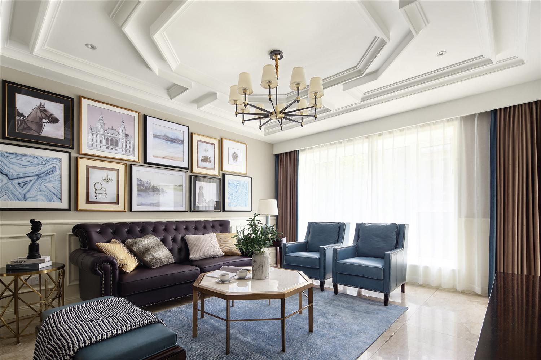 美式风格别墅客厅吊顶装修效果图