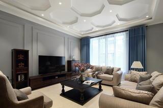 简美风格别墅客厅吊顶装修效果图