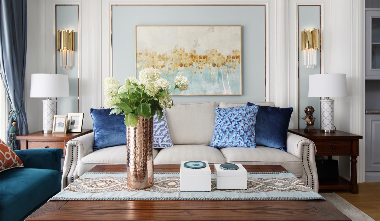 110㎡美式风沙发背景墙装修效果图