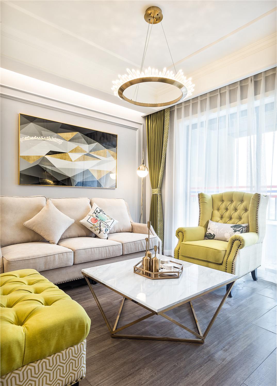 106㎡现代美式装修客厅吊灯设计