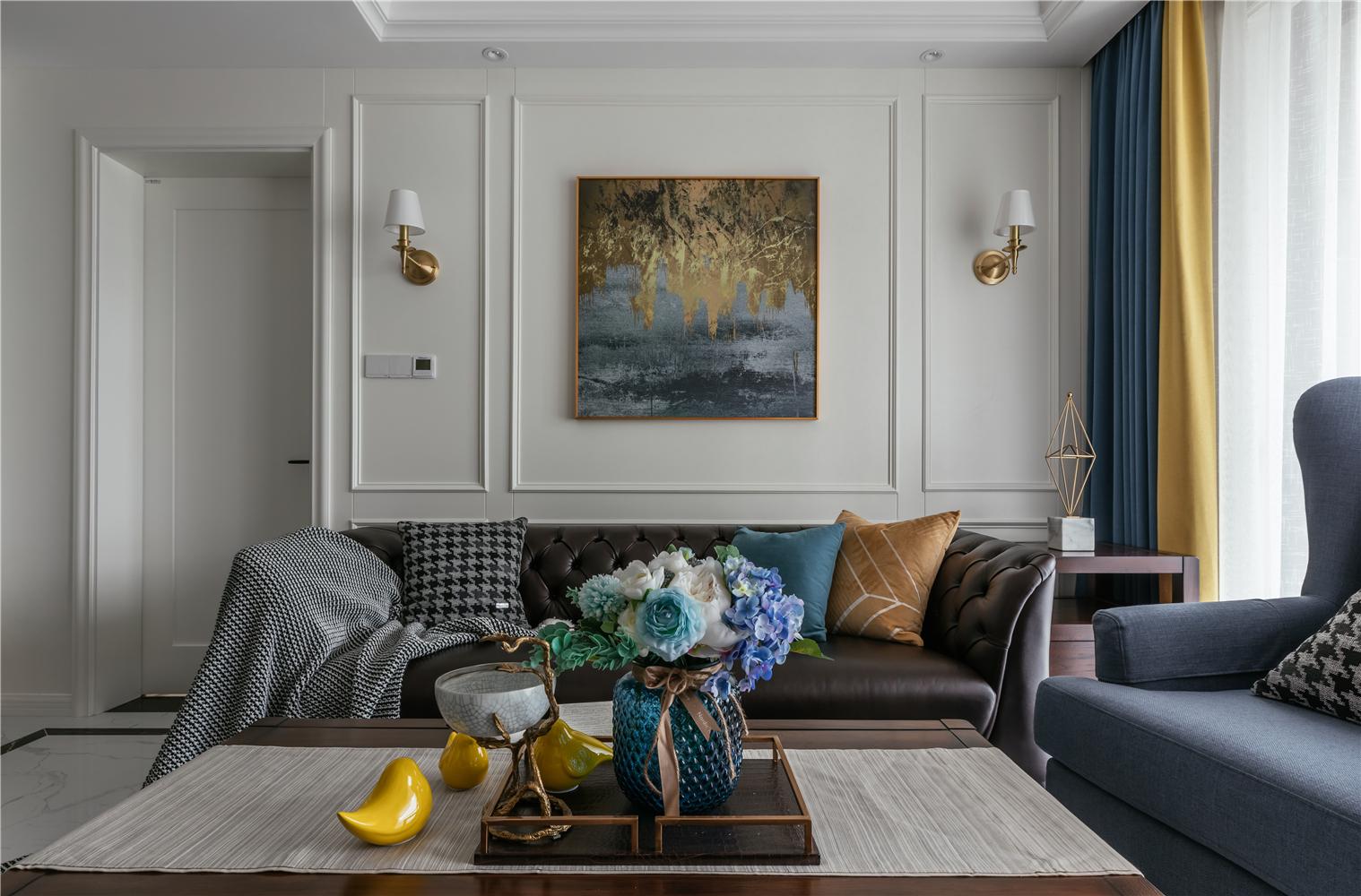 简美风格两居沙发背景墙装修效果图