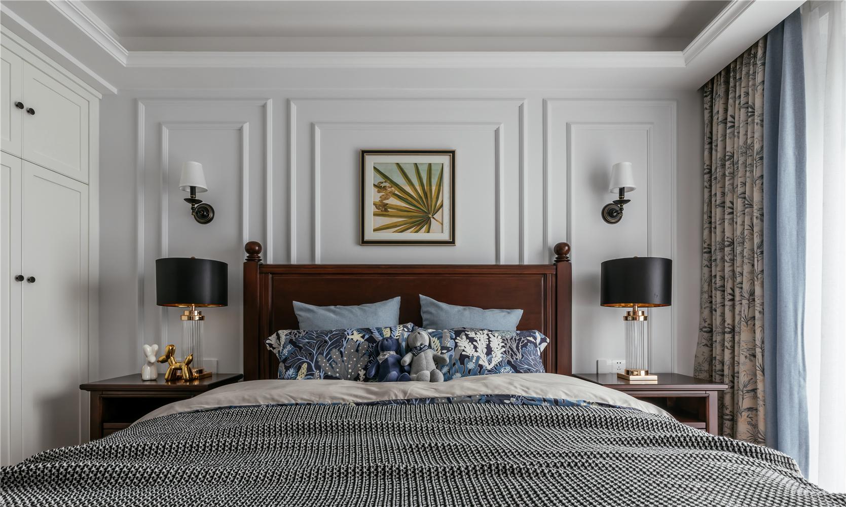 简美风格两居卧室背景墙装修效果图
