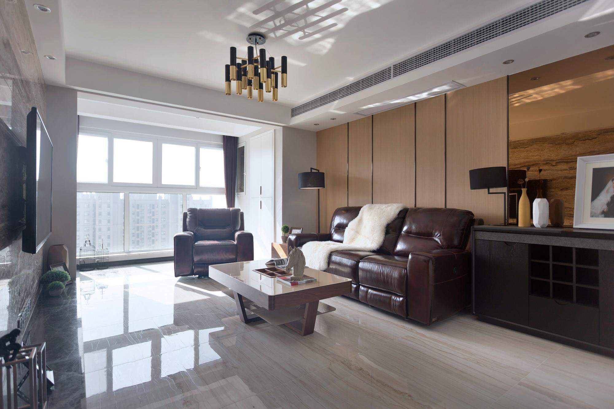 110㎡现代简约风格沙发背景墙装修效果图