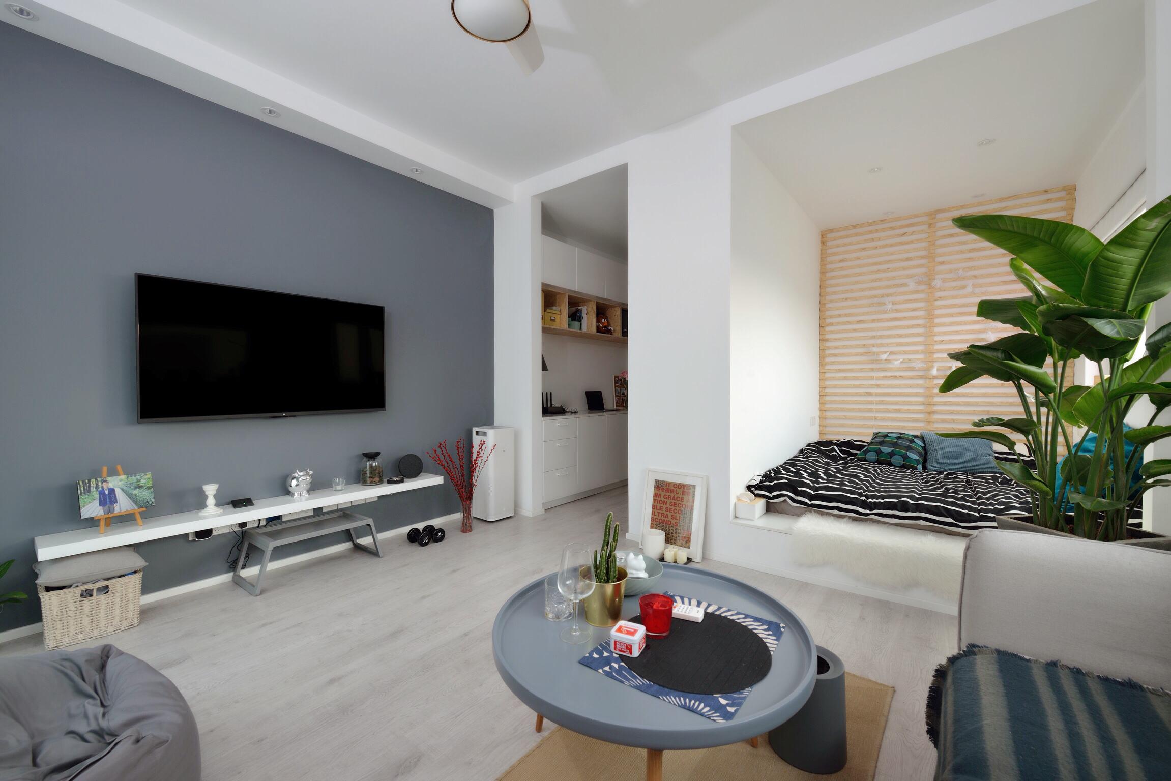 38平米小户型客厅电视墙装修效果图