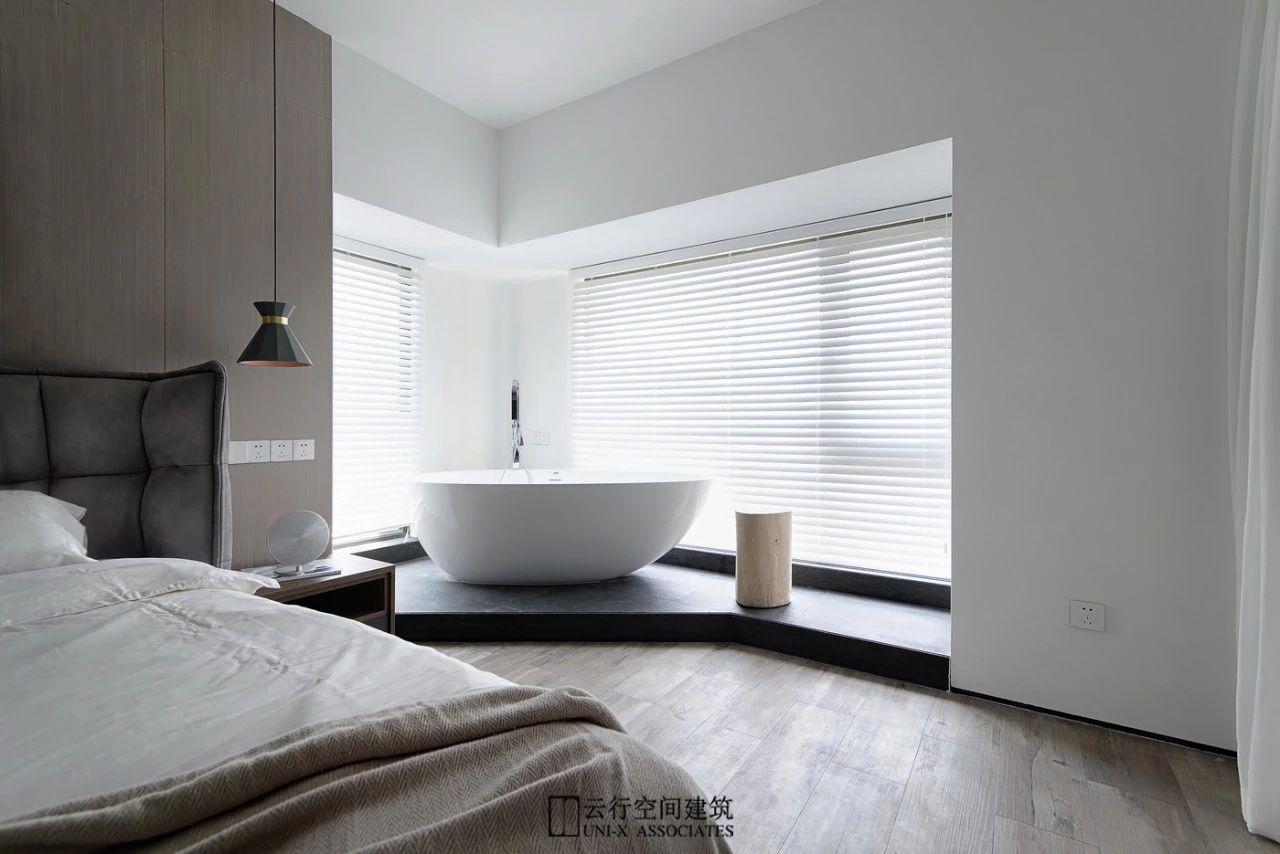 160㎡现代简约装修卧室浴缸设计