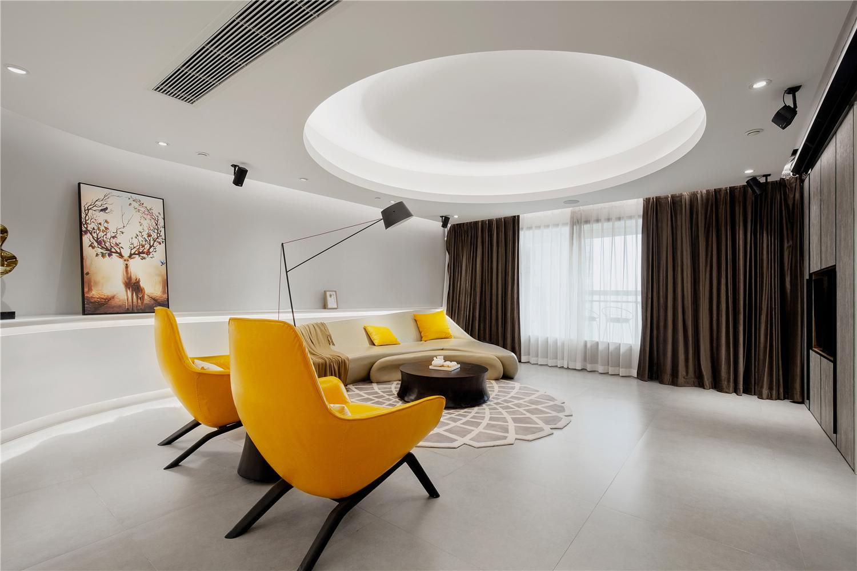180平现代简约风客厅吊顶装修效果图