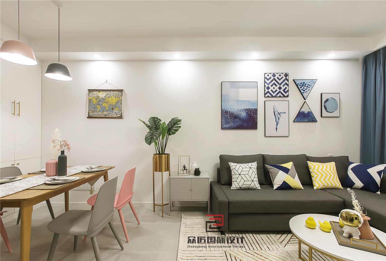 88㎡北欧风两居沙发背景墙装修效果图