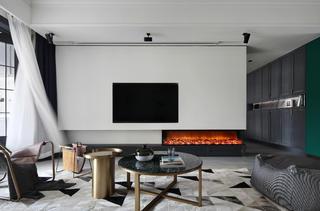 现代混搭风三居室电视背景墙装修效果图