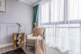 大户型美式轻奢风装修客厅休闲一角