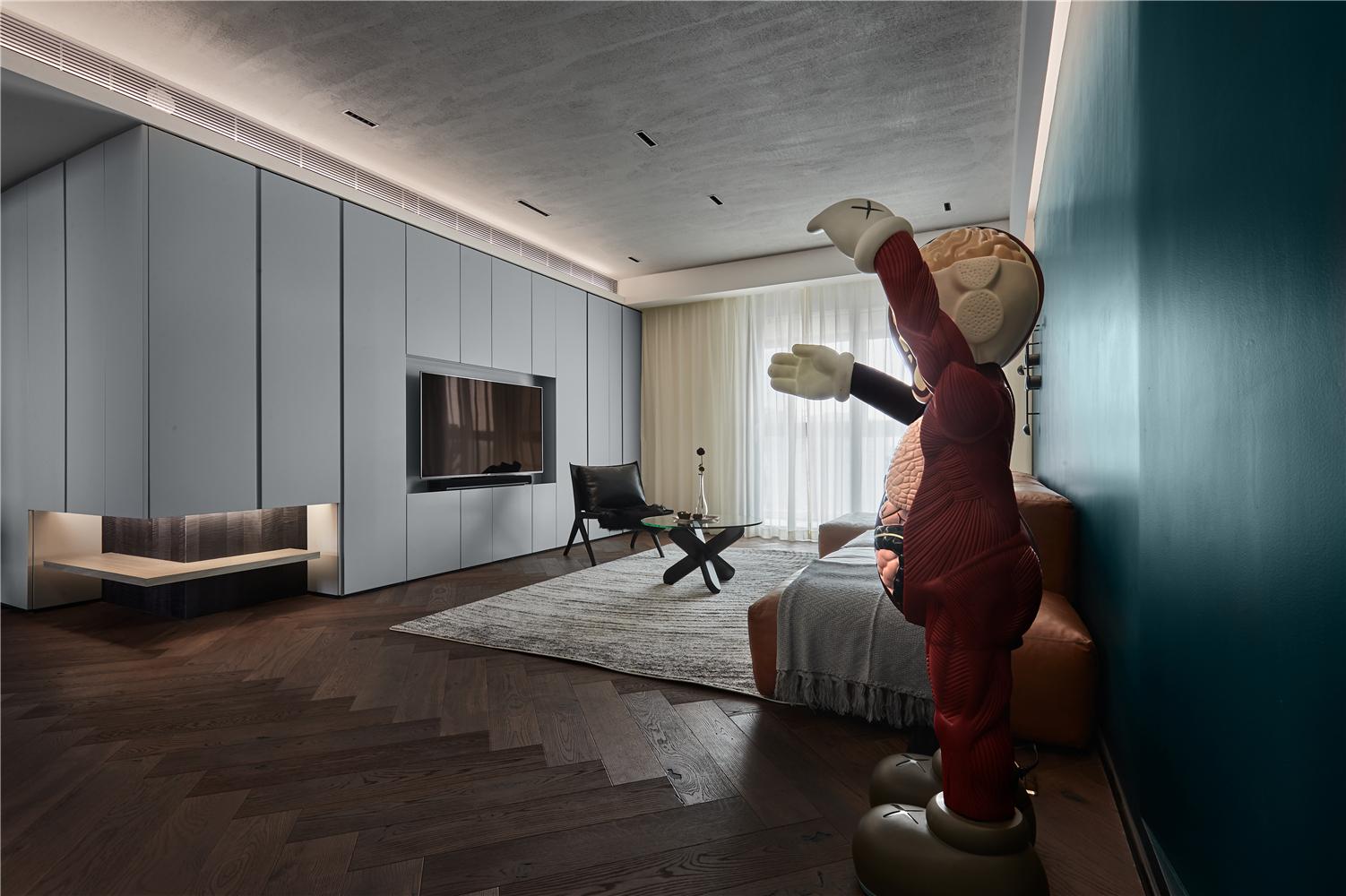 混搭风三居室客厅电视墙装修效果图