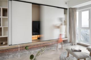 104平米三居室電視墻裝修效果圖