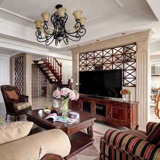 美式风格别墅电视背景墙装修效果图