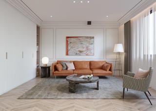 160㎡简约轻奢风沙发背景墙装修效果图