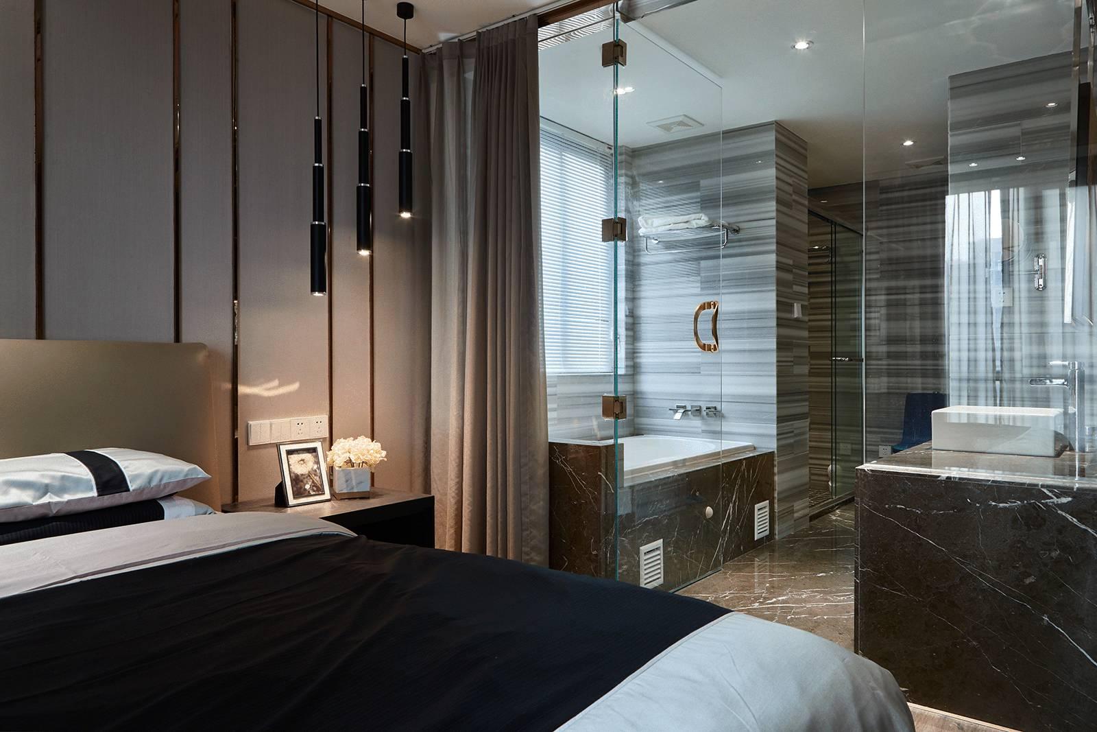 现代简约三居卧室卫生间装修效果图