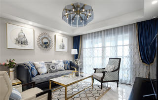 140㎡美式四居沙发背景墙装修效果图
