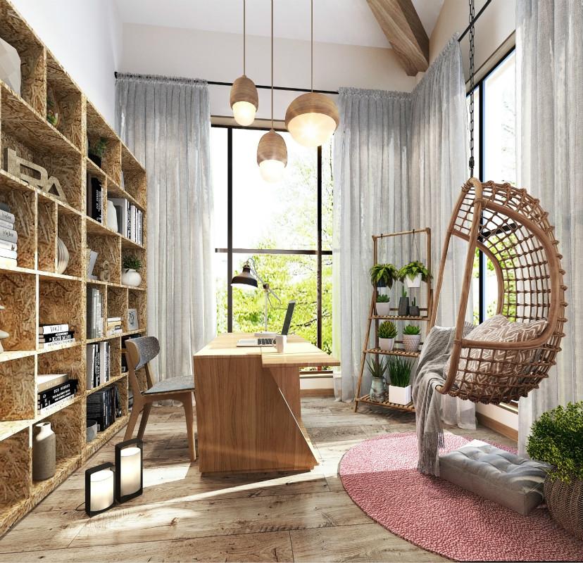 混搭风格别墅书房装修效果图