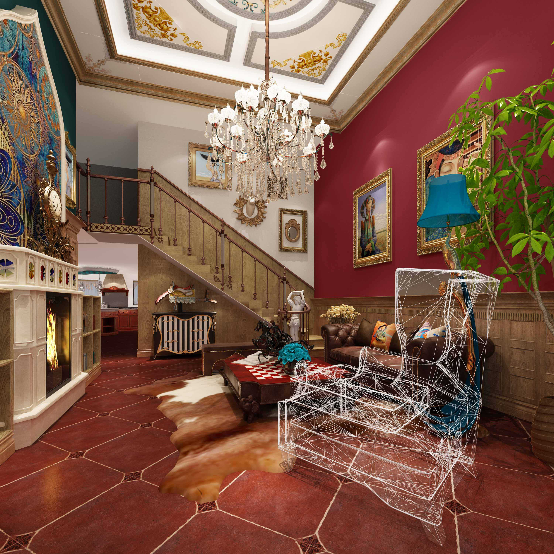 奢华混搭别墅客厅装修效果图