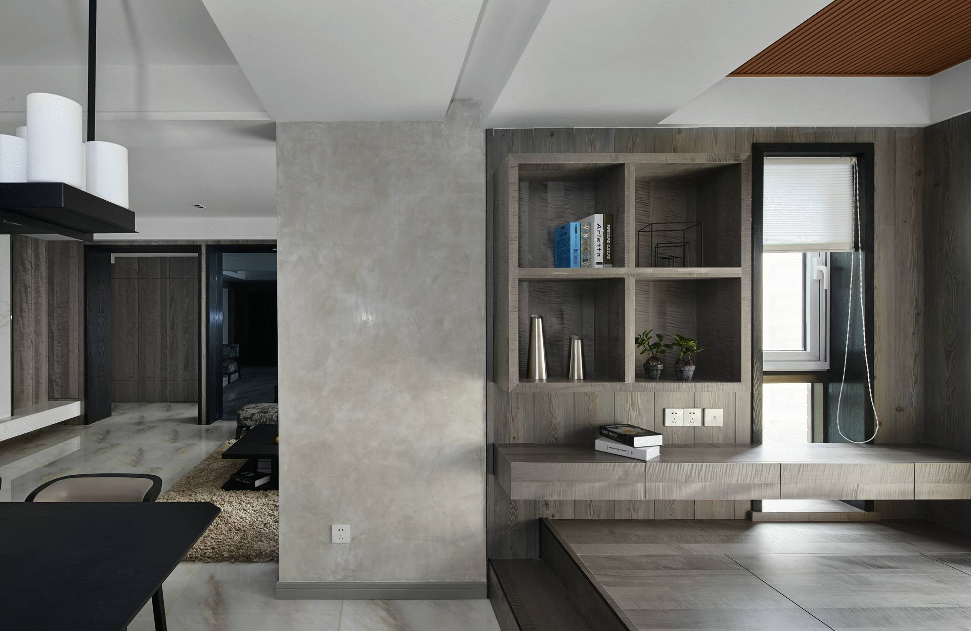 现代风三居室装修展示柜设计