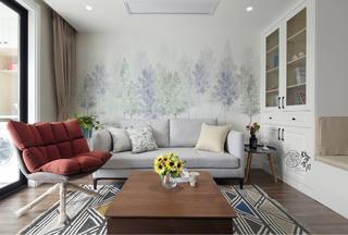89平米三居室沙发背景墙装修效果图