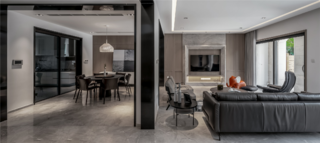 大户型现代简约客餐厅装修效果图