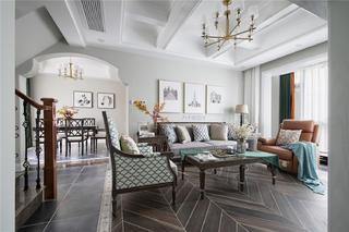 175㎡现代美式客厅装修效果图