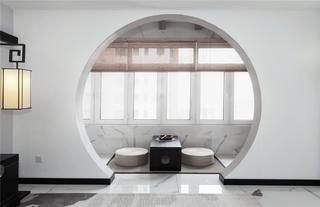 中式风三居阳台茶室装修效果图