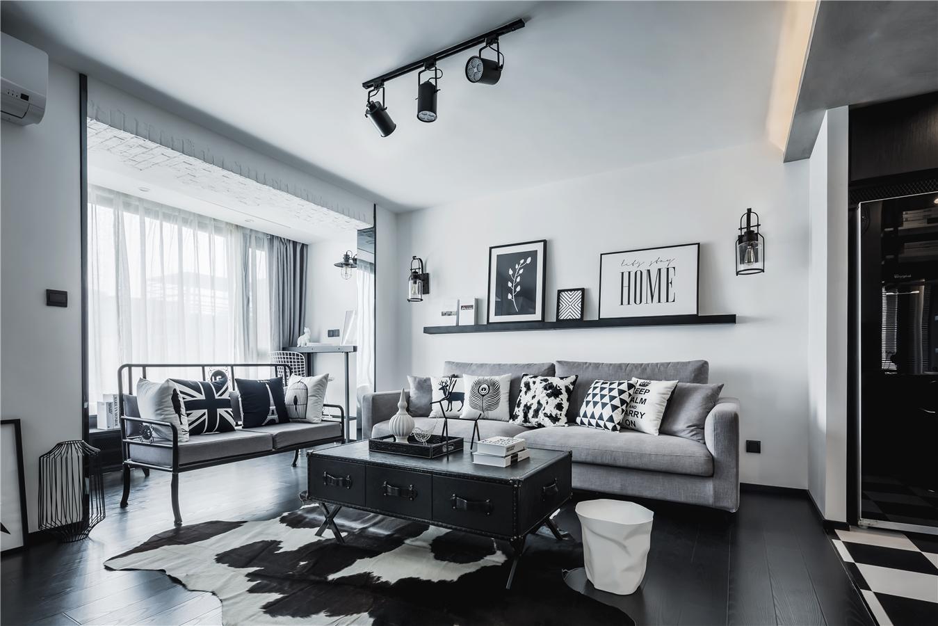68㎡工业风格沙发背景墙装修效果图