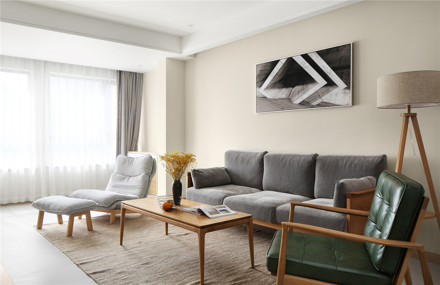 140m²日式风格客厅沙发墙装修效果图