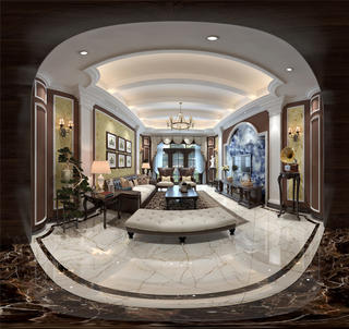 美式别墅装修客厅全景图