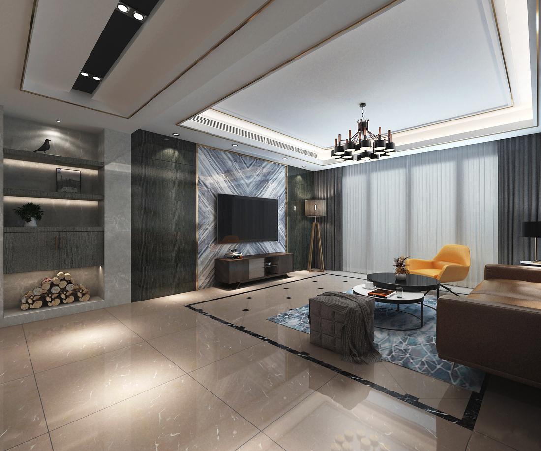 现代简约四居室客厅电视背景墙装修效果图