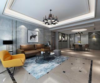 现代简约四居室客厅沙发背景墙装修效果图