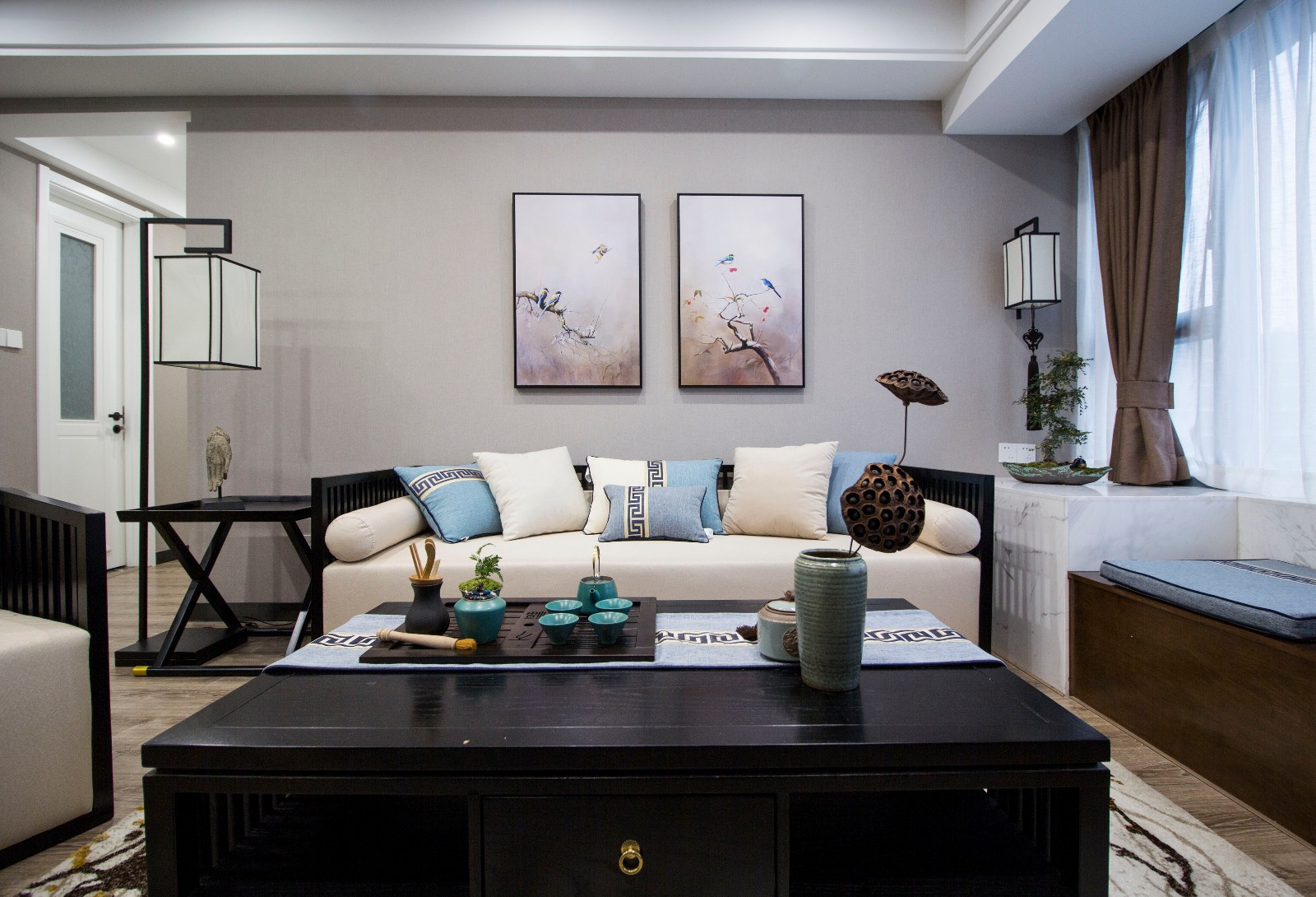 105平新中式风格沙发背景墙装修效果图