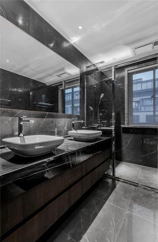 140㎡黑白灰现代卫生间装修效果图