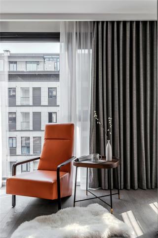 140㎡现代风装修橙色靠背椅设计