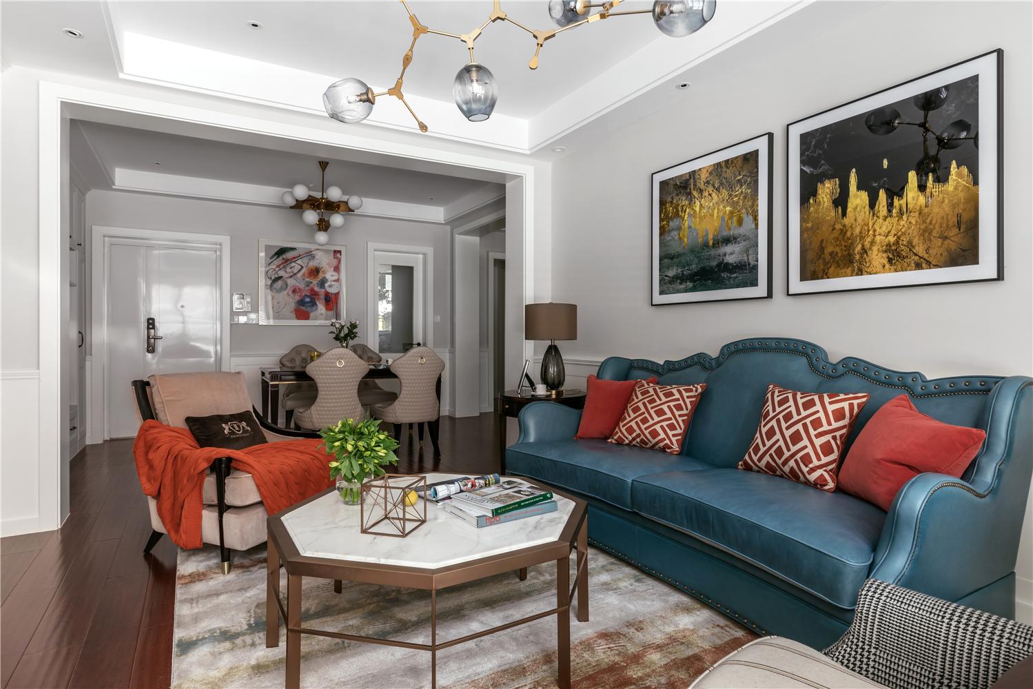 120㎡美式风格客厅装修效果图
