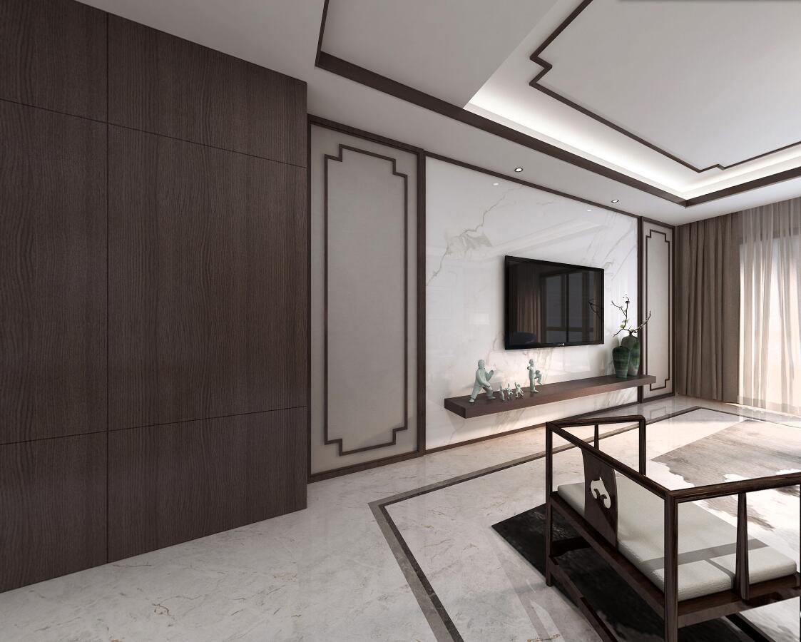 现代中式三居电视背景墙装修效果图