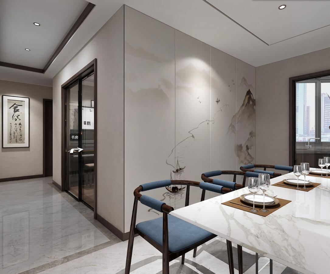 现代中式三居餐厅背景墙装修效果图