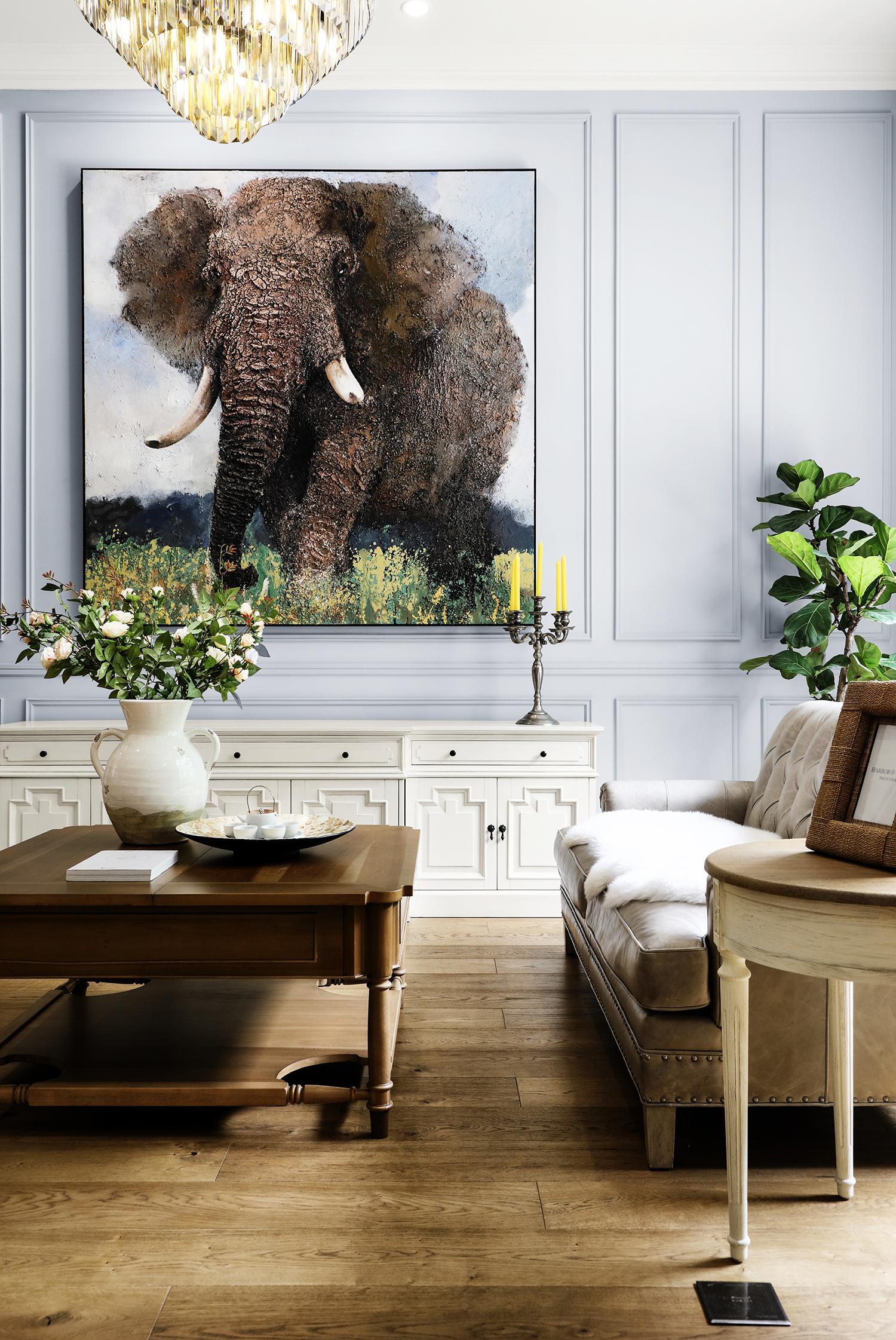 简美风格别墅客厅背景墙装修效果图