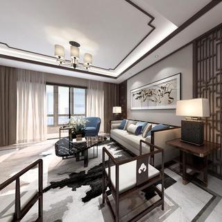 现代中式三居装修效果图