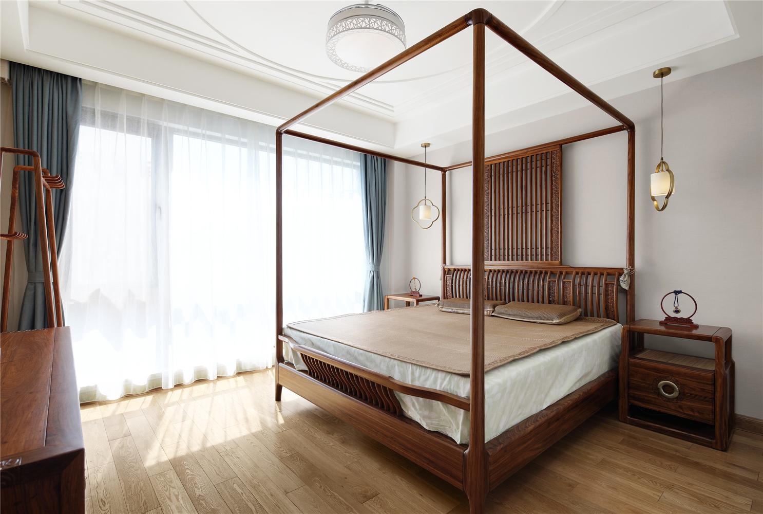 简约中式风别墅卧室装修效果图