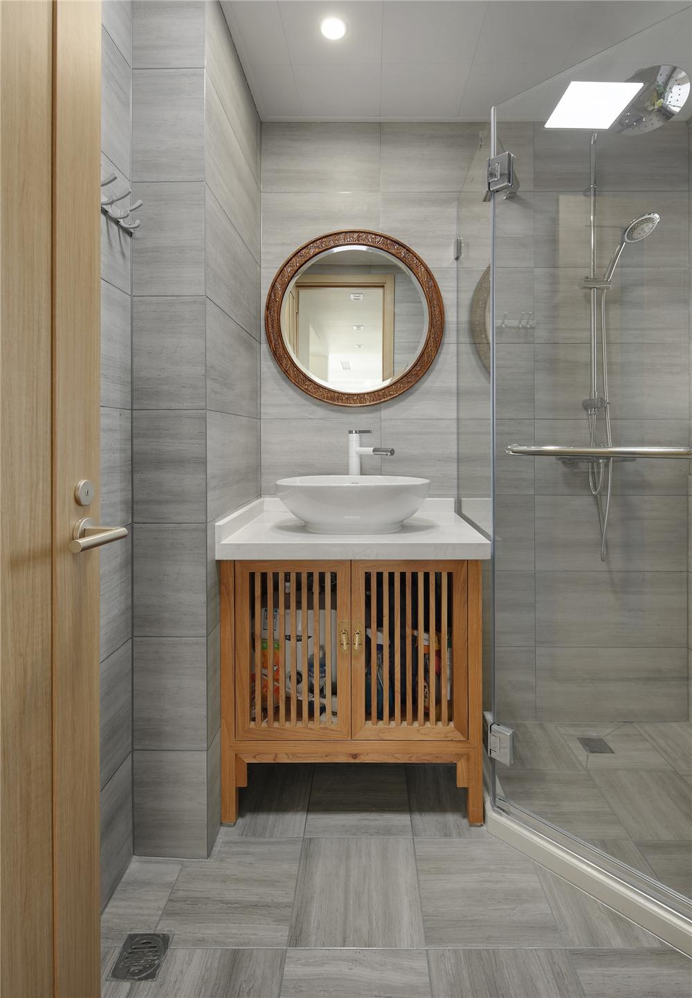 简约中式风别墅卫生间装修效果图