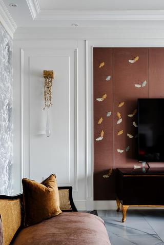 新古典风格别墅装修电视墙一角
