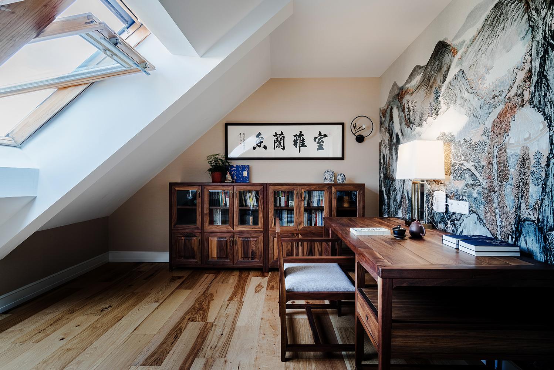 中式风阁楼书房装修效果图
