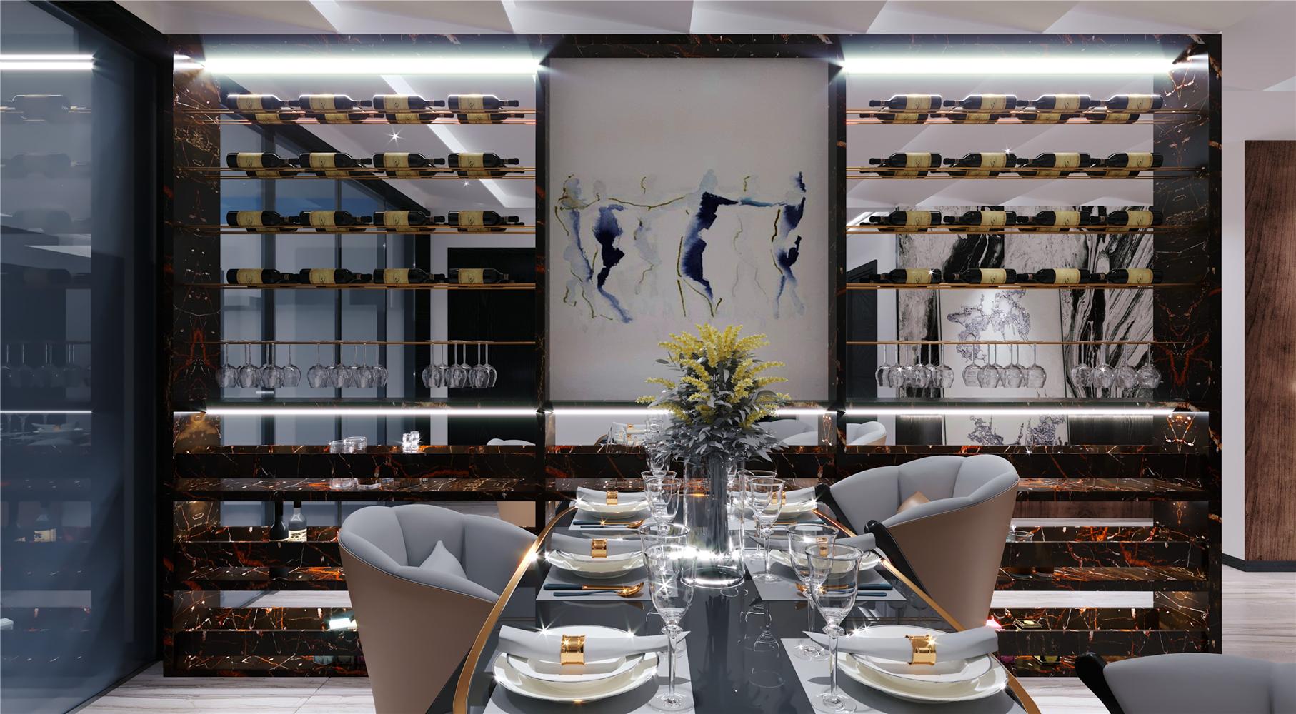 大户型轻奢现代风装修餐厅酒柜设计图
