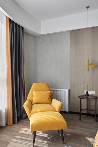 大户型都市现代风装修黄色休闲椅设计