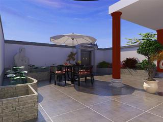 大户型新中式风庭院装修效果图
